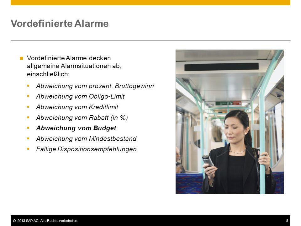 ©2013 SAP AG.Alle Rechte vorbehalten.9 Vordefinierte Alarme  Abweichung vom prozent.