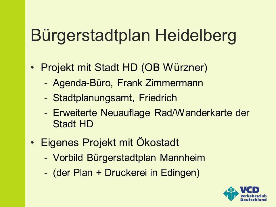 Bürgerstadtplan Heidelberg Projekt mit Stadt HD (OB Würzner) -Agenda-Büro, Frank Zimmermann -Stadtplanungsamt, Friedrich -Erweiterte Neuauflage Rad/Wanderkarte der Stadt HD Eigenes Projekt mit Ökostadt -Vorbild Bürgerstadtplan Mannheim -(der Plan + Druckerei in Edingen)