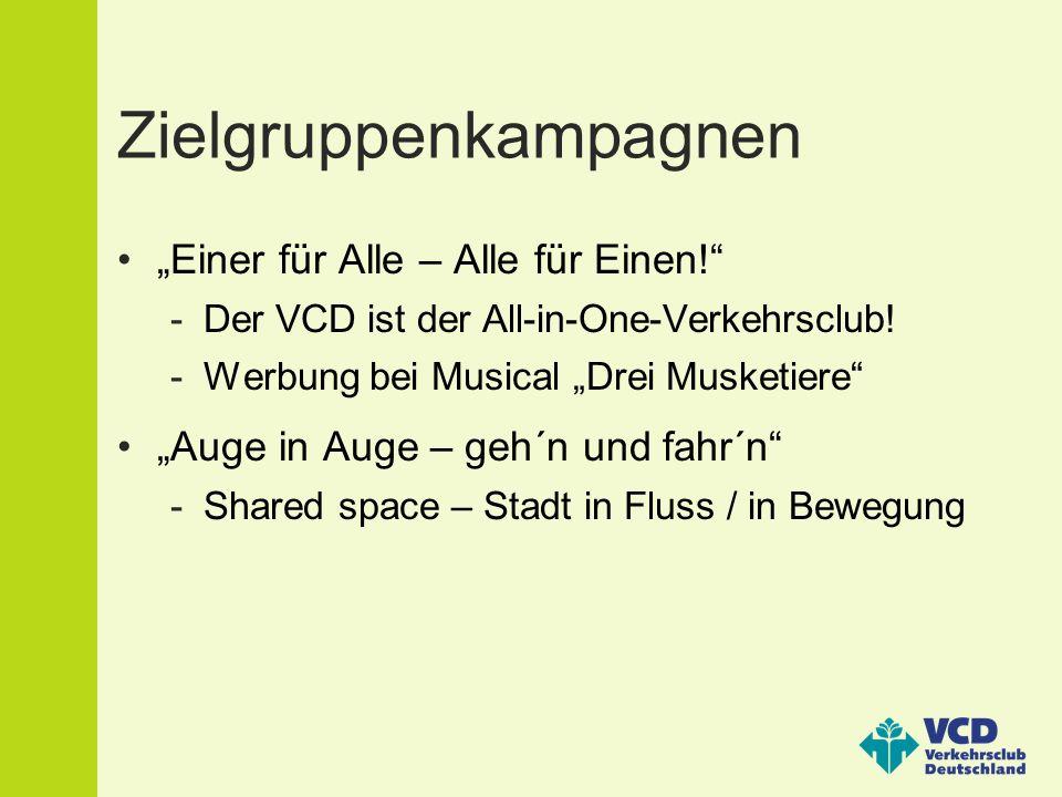 """Zielgruppenkampagnen """"Einer für Alle – Alle für Einen! -Der VCD ist der All-in-One-Verkehrsclub."""