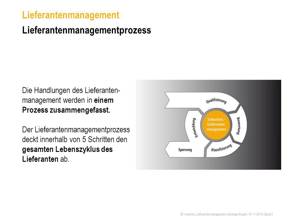 © Implenia | Lieferantenmanagement | Andreas Studer | 14.11.2014 | Seite 5 Lieferantenmanagement Lieferantenmanagementprozess Die Handlungen des Liefe