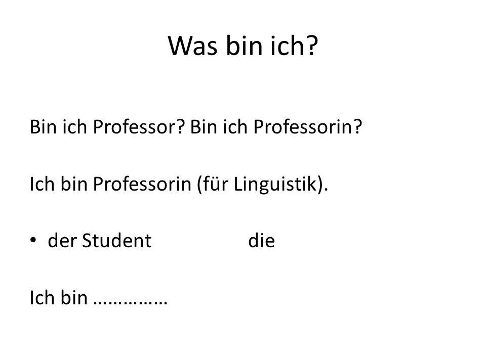 Was bin ich. Bin ich Professor. Bin ich Professorin.