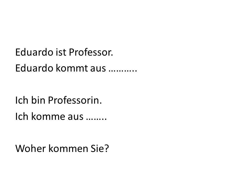 Eduardo ist Professor. Eduardo kommt aus ……….. Ich bin Professorin.