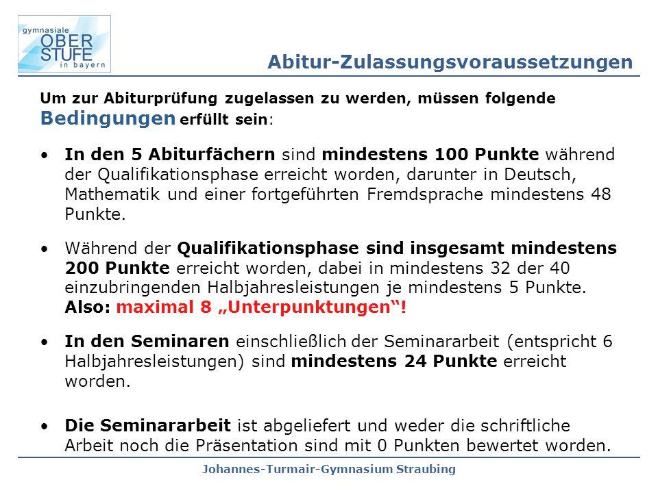 Johannes-Turmair-Gymnasium Straubing Um zur Abiturprüfung zugelassen zu werden, müssen folgende Bedingungen erfüllt sein: In den 5 Abiturfächern sind