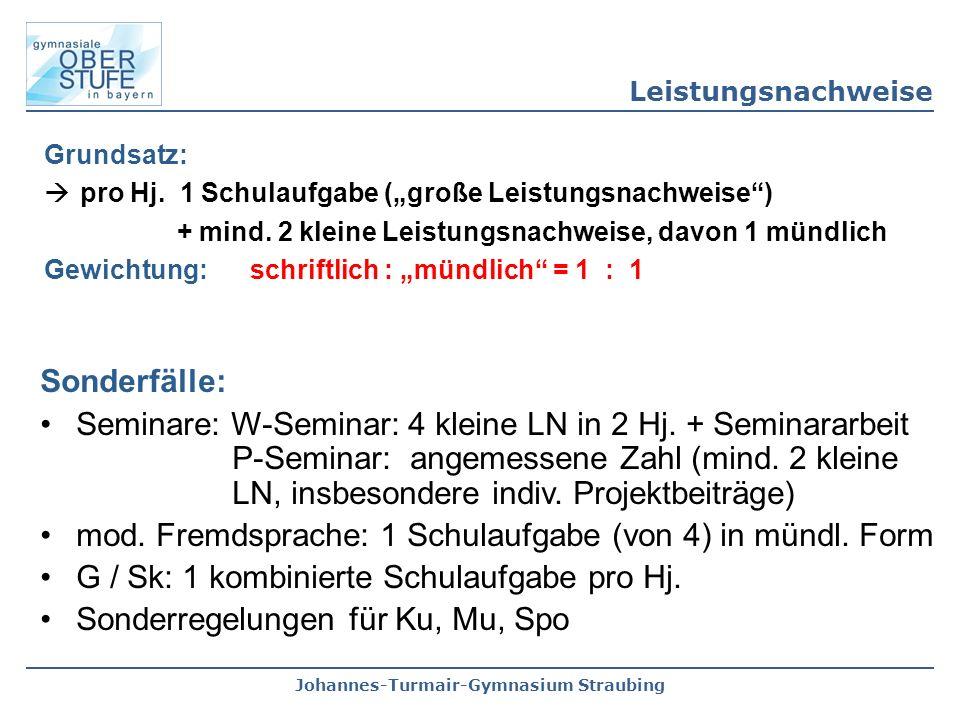 """Johannes-Turmair-Gymnasium Straubing Grundsatz:  pro Hj. 1 Schulaufgabe (""""große Leistungsnachweise"""") + mind. 2 kleine Leistungsnachweise, davon 1 mün"""