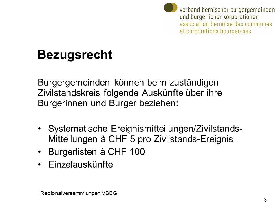 Bezugsrecht Burgergemeinden können beim zuständigen Zivilstandskreis folgende Auskünfte über ihre Burgerinnen und Burger beziehen: Systematische Ereig