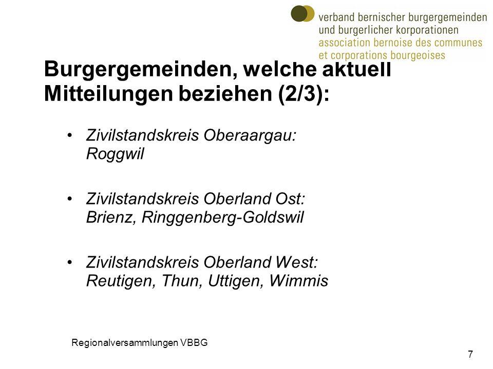Burgergemeinden, welche aktuell Mitteilungen beziehen (2/3): Zivilstandskreis Oberaargau: Roggwil Zivilstandskreis Oberland Ost: Brienz, Ringgenberg-G