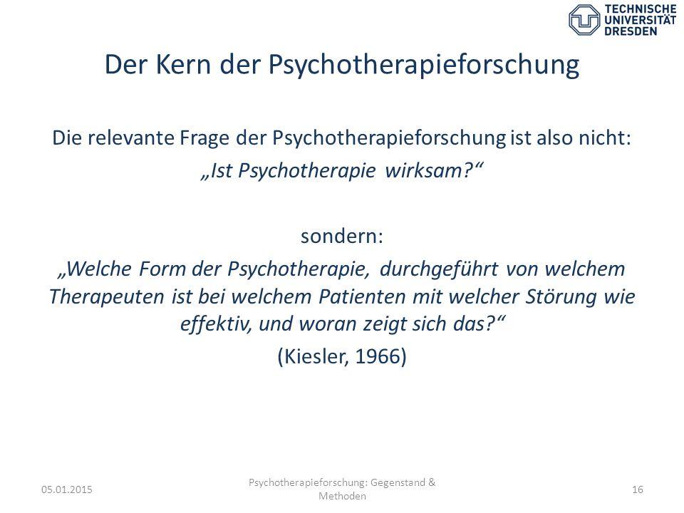 """Der Kern der Psychotherapieforschung Die relevante Frage der Psychotherapieforschung ist also nicht: """"Ist Psychotherapie wirksam?"""" sondern: """"Welche Fo"""