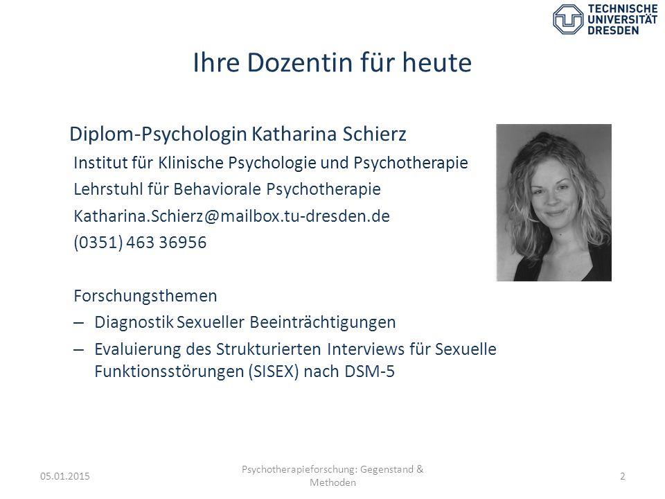 Ihre Dozentin für heute Diplom-Psychologin Katharina Schierz Institut für Klinische Psychologie und Psychotherapie Lehrstuhl für Behaviorale Psychothe