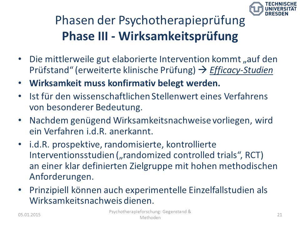 """Phasen der Psychotherapieprüfung Phase III - Wirksamkeitsprüfung Die mittlerweile gut elaborierte Intervention kommt """"auf den Prüfstand"""" (erweiterte k"""