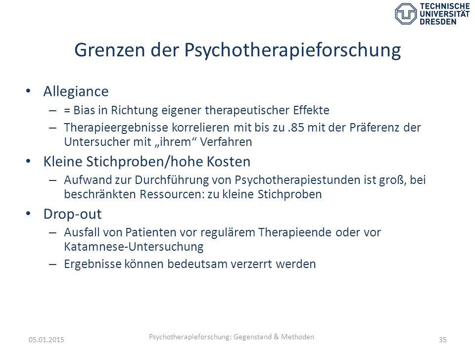 Grenzen der Psychotherapieforschung Allegiance – = Bias in Richtung eigener therapeutischer Effekte – Therapieergebnisse korrelieren mit bis zu.85 mit
