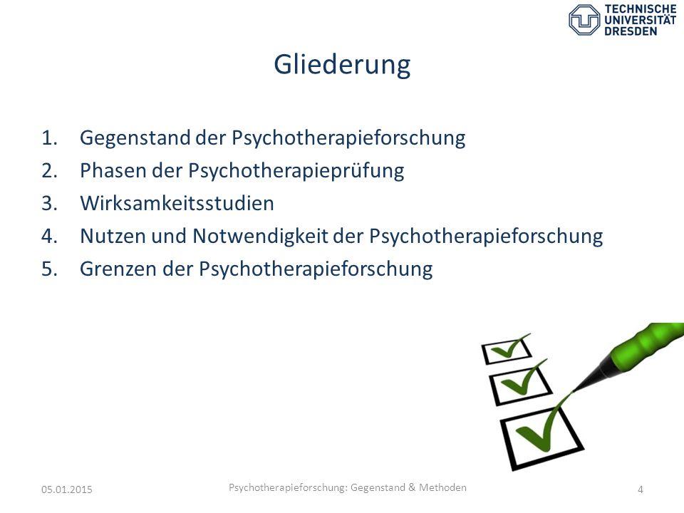 Gliederung 1.Gegenstand der Psychotherapieforschung 2.Phasen der Psychotherapieprüfung 3.Wirksamkeitsstudien 4.Nutzen und Notwendigkeit der Psychother