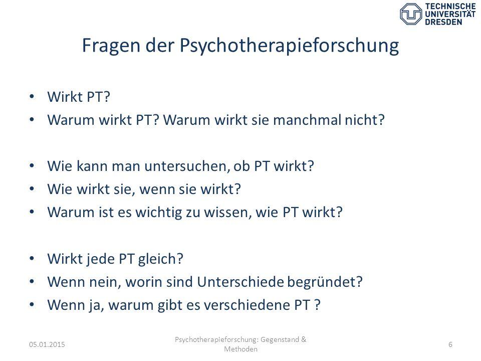 Fragen der Psychotherapieforschung Wirkt PT? Warum wirkt PT? Warum wirkt sie manchmal nicht? Wie kann man untersuchen, ob PT wirkt? Wie wirkt sie, wen
