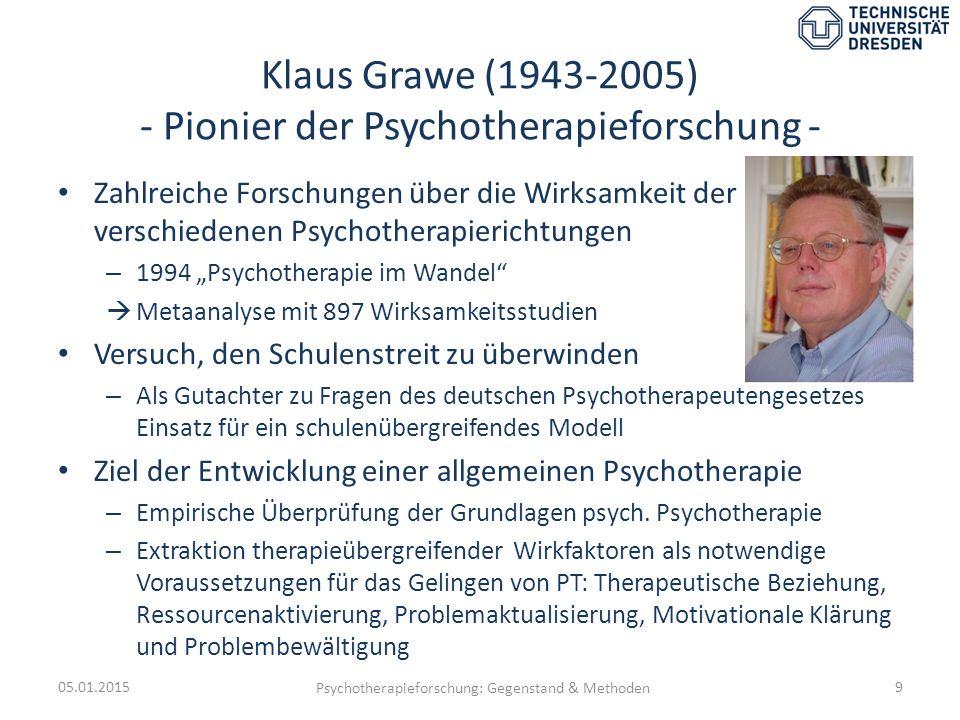 Klaus Grawe (1943-2005) - Pionier der Psychotherapieforschung - Zahlreiche Forschungen über die Wirksamkeit der verschiedenen Psychotherapierichtungen