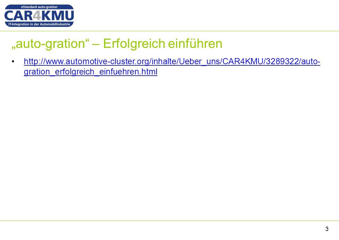 """""""auto-gration – Erfolgreich einführen 3 http://www.automotive-cluster.org/inhalte/Ueber_uns/CAR4KMU/3289322/auto- gration_erfolgreich_einfuehren.htmlhttp://www.automotive-cluster.org/inhalte/Ueber_uns/CAR4KMU/3289322/auto- gration_erfolgreich_einfuehren.html"""