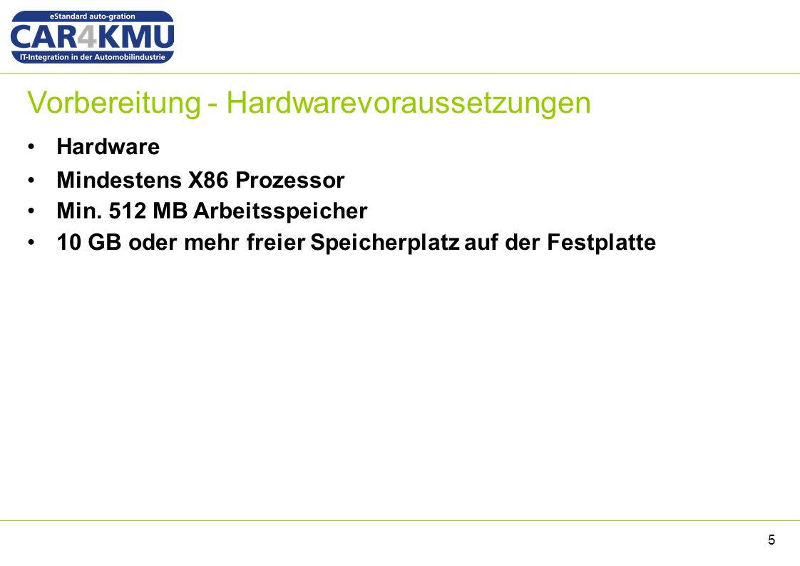 Vorbereitung - Hardwarevoraussetzungen Hardware Mindestens X86 Prozessor Min.