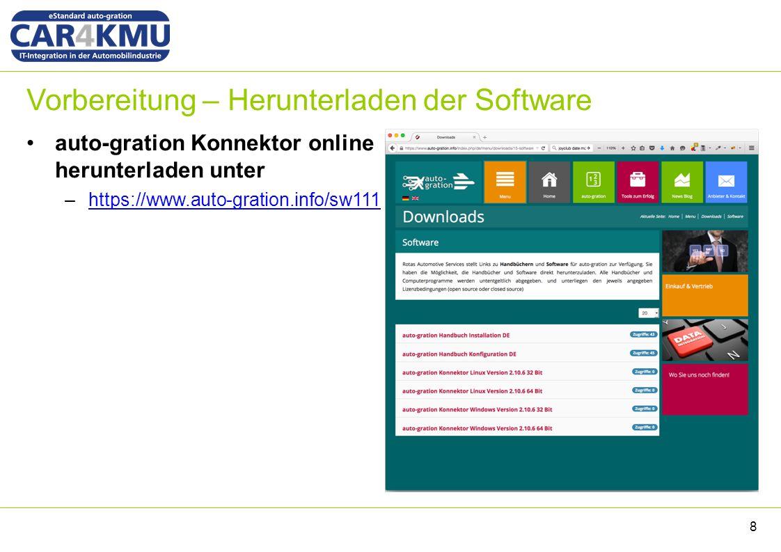 Vorbereitung – Herunterladen der Software auto-gration Konnektor online herunterladen unter –https://www.auto-gration.info/sw111https://www.auto-gration.info/sw111 8