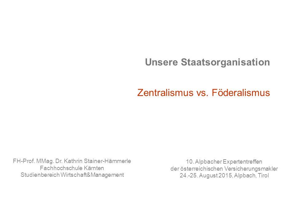 Unsere Staatsorganisation Zentralismus vs.Föderalismus 10.