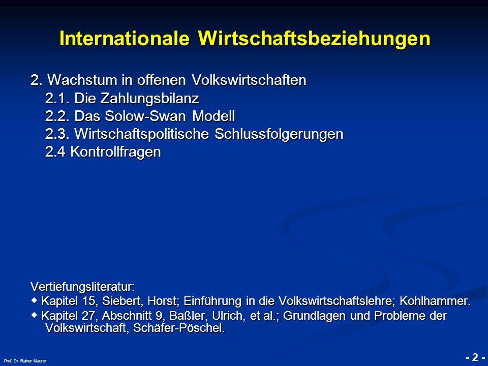 © RAINER MAURER, Pforzheim - 3 - Prof.Dr. Rainer Maurer Internationale Wirtschaftsbeziehungen 2.
