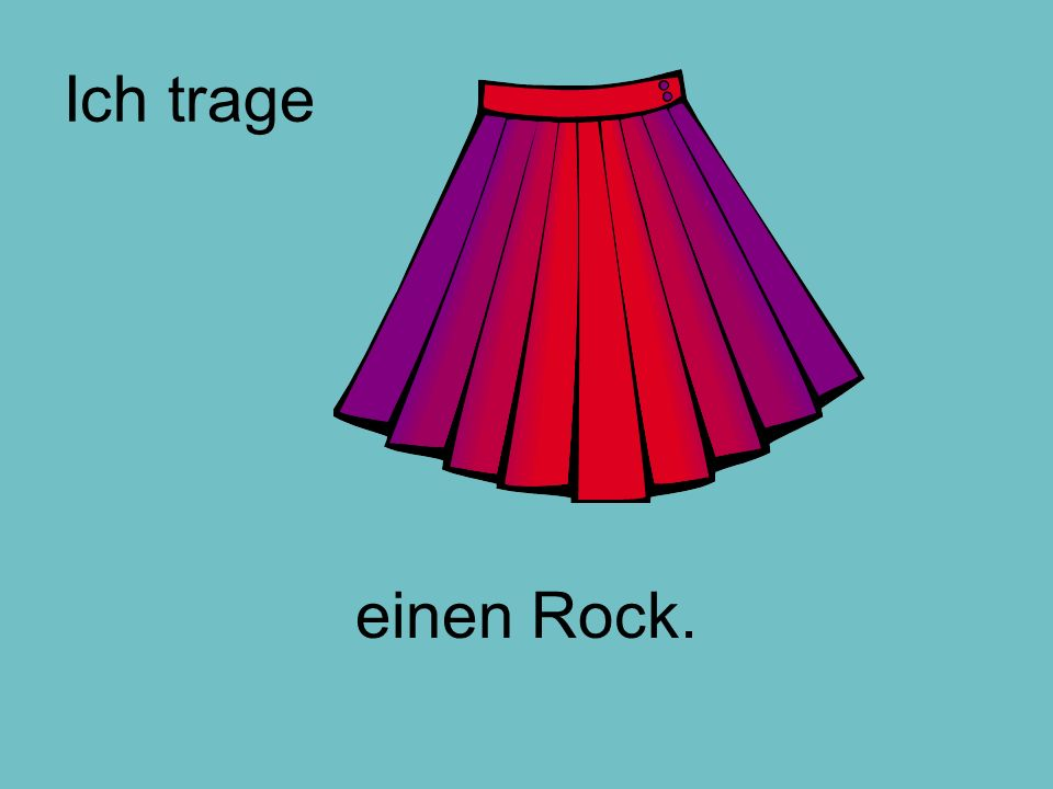 Can you match the sentence with the picture.Ich trage einen Rock aus Baumwolle.