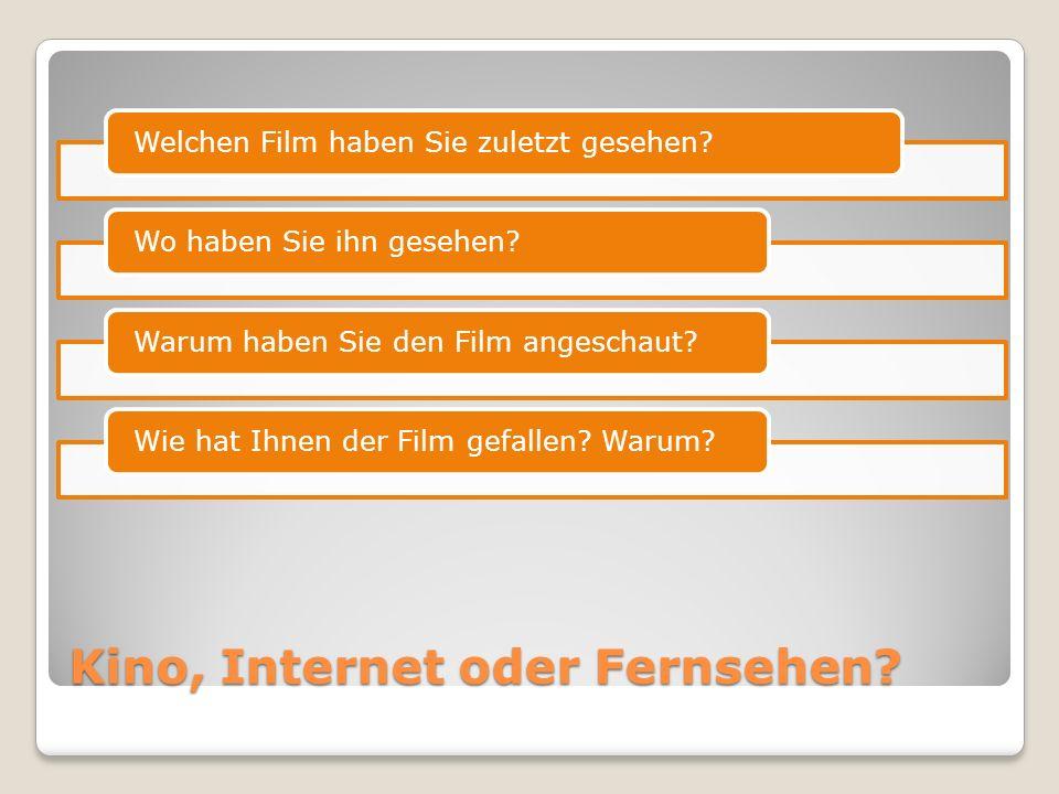Interview-Aufgabe A Stellen Sie sich vor, dass Sie ein/e Journalist/in sind und mit einer berühmten deutschsprachigen Persönlichkeit ein Interview zum Thema Film führen.