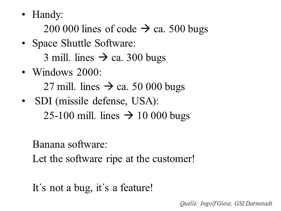Software Bugs Laut INTEL: 80-90 bugs in Pentium und in allen neueren Prozessoren Normale Software: 25 bugs per 1000 lines of code. Gute Software: 2-3