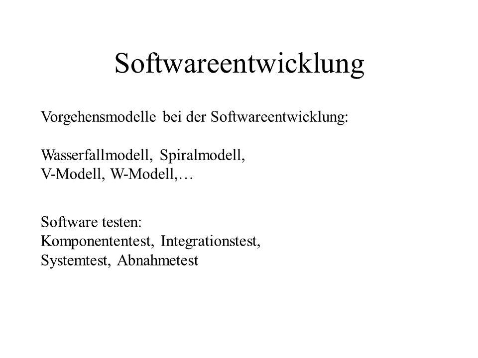 Gründe für Software Bugs -Offensichtliche Fehler (Tipp~, Design~) -Fehlende Sicherheitschecks (unerwartete Fälle: Division durch 0, Formatumwandlung,.) -Interface~ (verschiedene Codes, die nicht zusammenpassen) -Fehlinterpretation von Ein/Ausgabe-Daten -Ungetestetes Wiederverwenden alten Codes -Software und Hardware passen nicht (mehr) zusammen -Fortschritt in Computer-Technology zu schnell -Numerische Rundungsfehler -Ungenügendes Testen -Großprojekte, Gigantismus, Komplexität -Unterschätzen des Aufwands