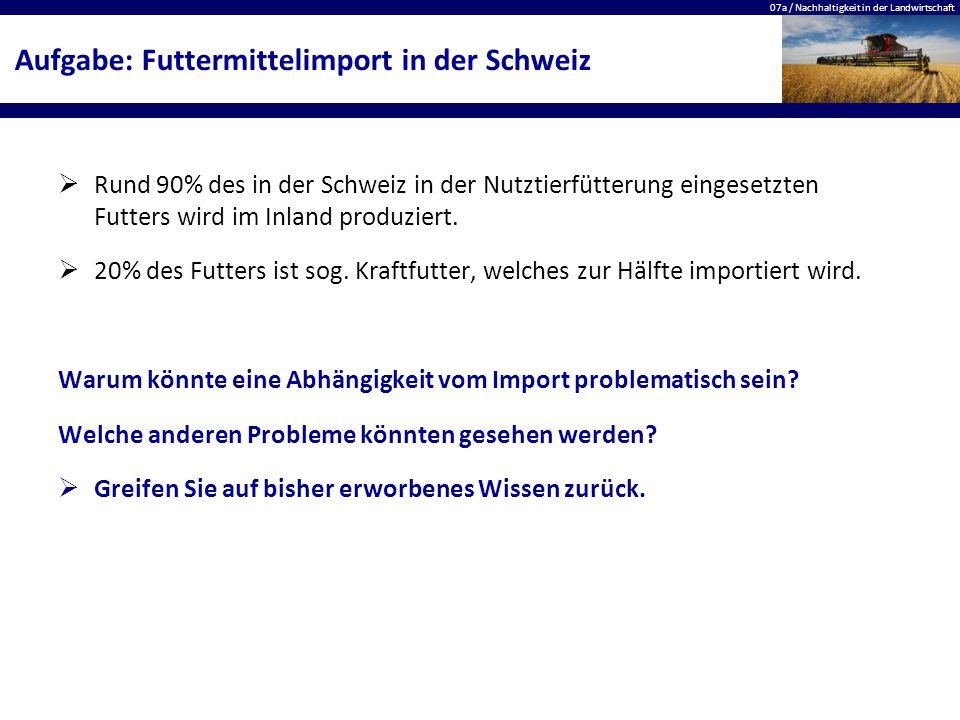 07a / Nachhaltigkeit in der Landwirtschaft Aufgabe: Futtermittelimport in der Schweiz  Rund 90% des in der Schweiz in der Nutztierfütterung eingesetz