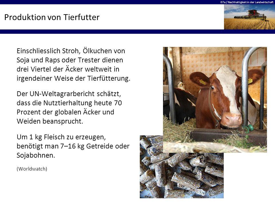 07a / Nachhaltigkeit in der Landwirtschaft Produktion von Tierfutter Einschliesslich Stroh, Ölkuchen von Soja und Raps oder Trester dienen drei Vierte
