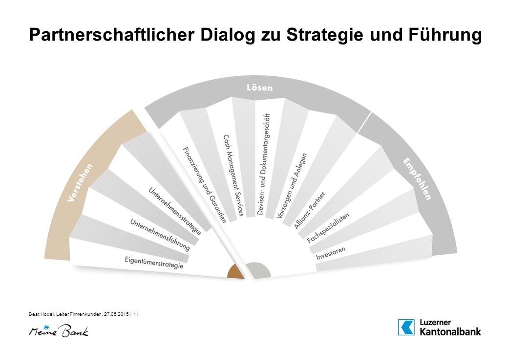 Beat Hodel, Leiter Firmenkunden, 27.05.2015 | 11 Partnerschaftlicher Dialog zu Strategie und Führung