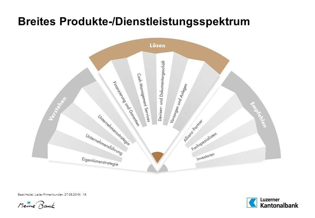 Beat Hodel, Leiter Firmenkunden, 27.05.2015 | 16 Breites Produkte-/Dienstleistungsspektrum