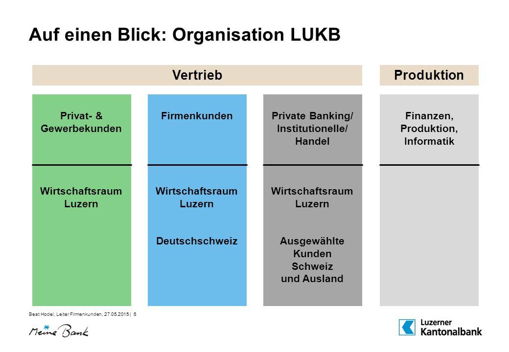 Beat Hodel, Leiter Firmenkunden, 27.05.2015 | 6 Auf einen Blick: Organisation LUKB Vertrieb Produktion Privat- & Gewerbekunden Wirtschaftsraum Luzern