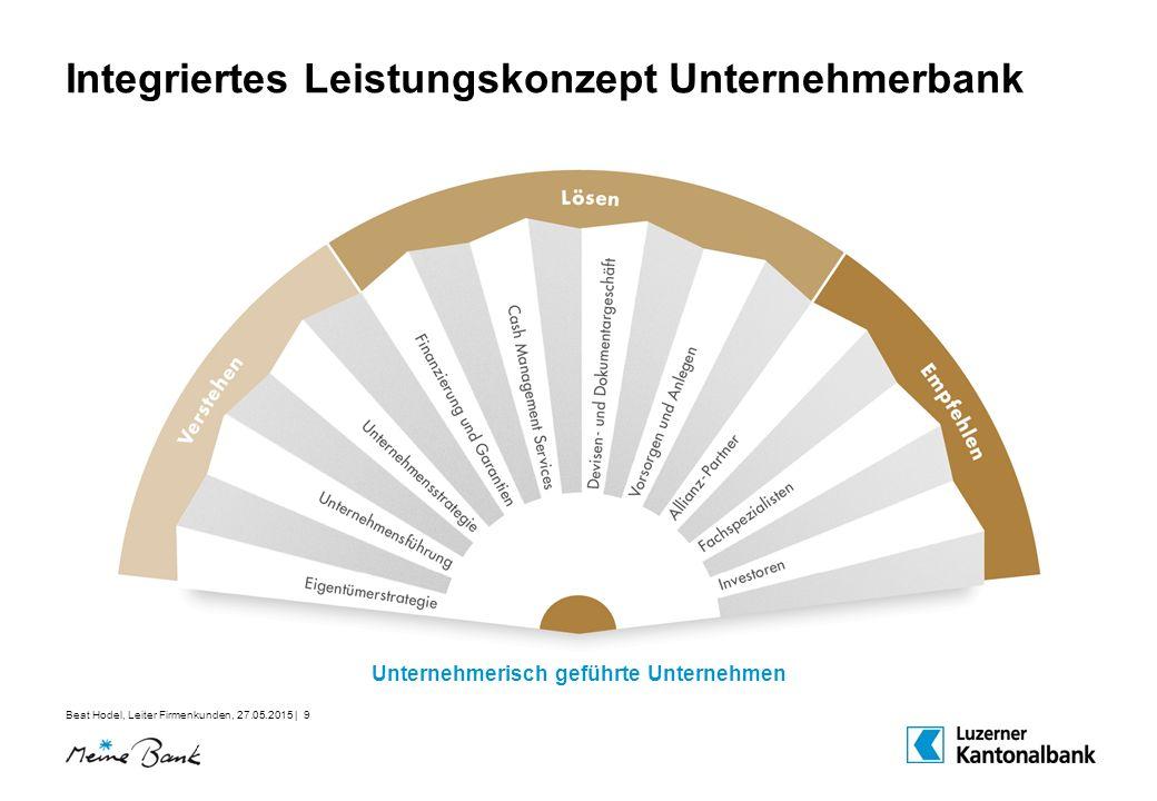 Beat Hodel, Leiter Firmenkunden, 27.05.2015 | 9 Integriertes Leistungskonzept Unternehmerbank Unternehmerisch geführte Unternehmen