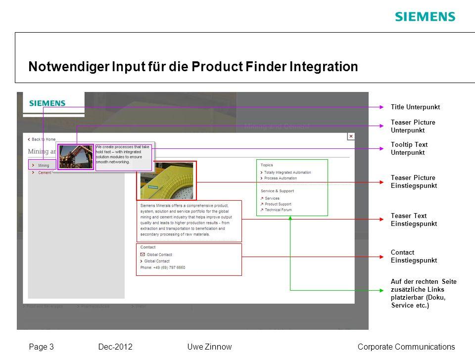Page 3 Dec-2012 Corporate CommunicationsUwe Zinnow Notwendiger Input für die Product Finder Integration Teaser Picture Unterpunkt Tooltip Text Unterpu
