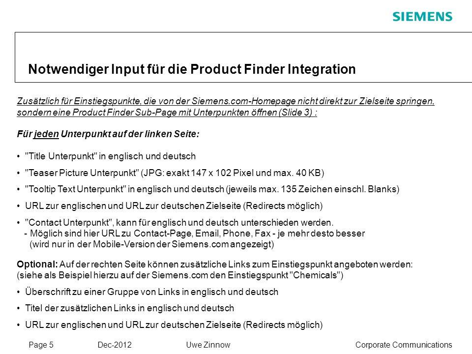Page 5 Dec-2012 Corporate CommunicationsUwe Zinnow Notwendiger Input für die Product Finder Integration Zusätzlich für Einstiegspunkte, die von der Si
