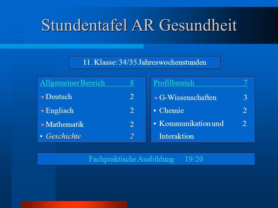 Stundentafel AR Gesundheit Allgemeiner Bereich8  Deutsch2  Englisch2  Mathematik2 Geschichte2Geschichte2 Profilbereich7  G-Wissenschaften 3 Chemie