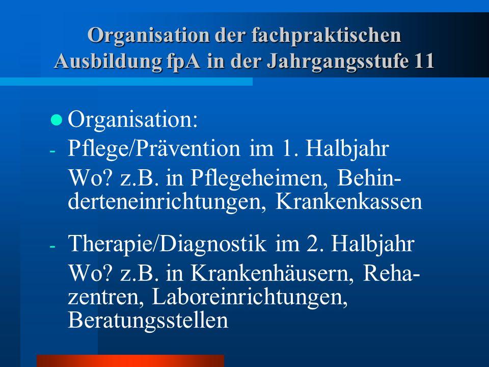 Inhalte der fachpraktischen Ausbildung fpA in der Jahrgangsstufe 11 Inhalte : - Kernaufgaben und Strukturen der jeweiligen Institutionen - Krankheitsbilder/Aufnahmekriterien von Patienten/Klienten - Ausstattung/Infrastruktur - Tagesablauf der Patienten/Klienten - Aufgaben der Praktikanten