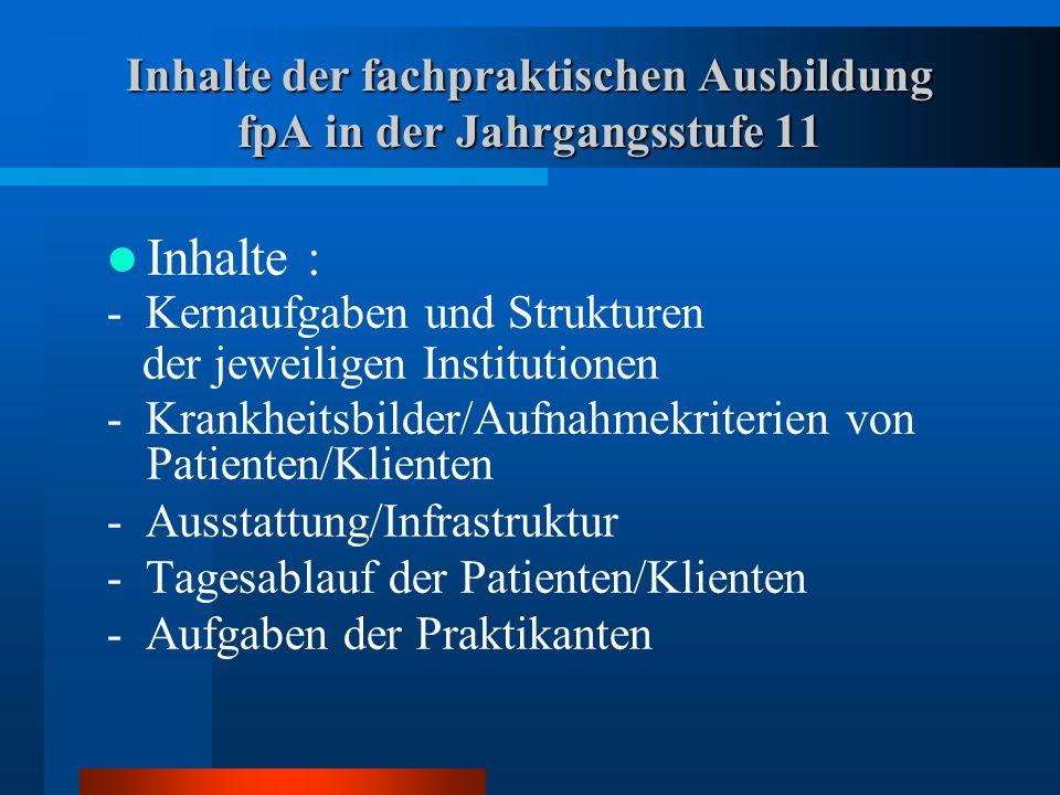 Inhalte der fachpraktischen Ausbildung fpA in der Jahrgangsstufe 11 Inhalte : - Kernaufgaben und Strukturen der jeweiligen Institutionen - Krankheitsb