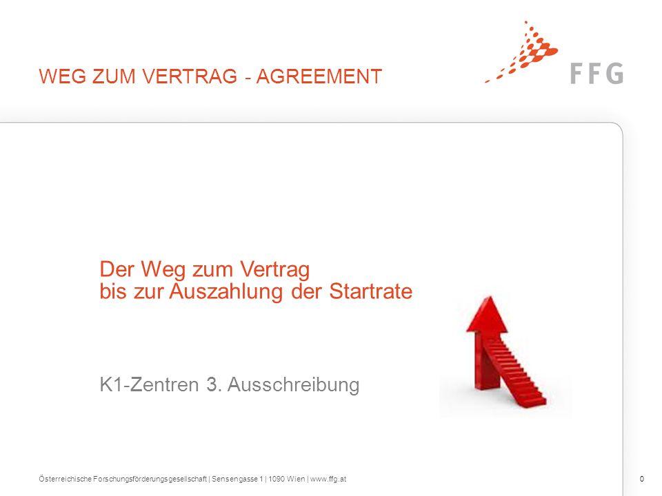 WEG ZUM VERTRAG - AGREEMENT Österreichische Forschungsförderungsgesellschaft | Sensengasse 1 | 1090 Wien | www.ffg.at0 Der Weg zum Vertrag bis zur Auszahlung der Startrate K1-Zentren 3.
