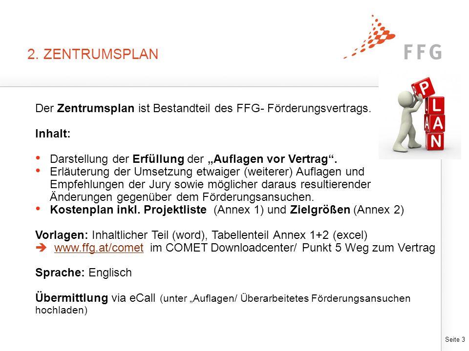 """Seite 3 2. ZENTRUMSPLAN Der Zentrumsplan ist Bestandteil des FFG- Förderungsvertrags. Inhalt: Darstellung der Erfüllung der """"Auflagen vor Vertrag"""". Er"""