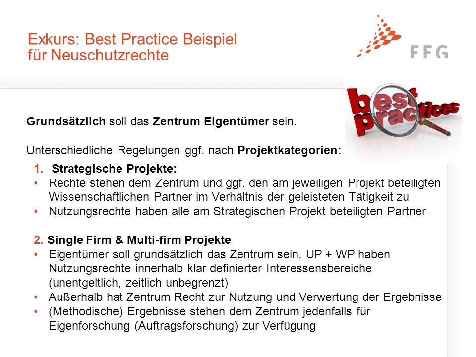 Exkurs: Best Practice Beispiel für Neuschutzrechte Grundsätzlich soll das Zentrum Eigentümer sein.