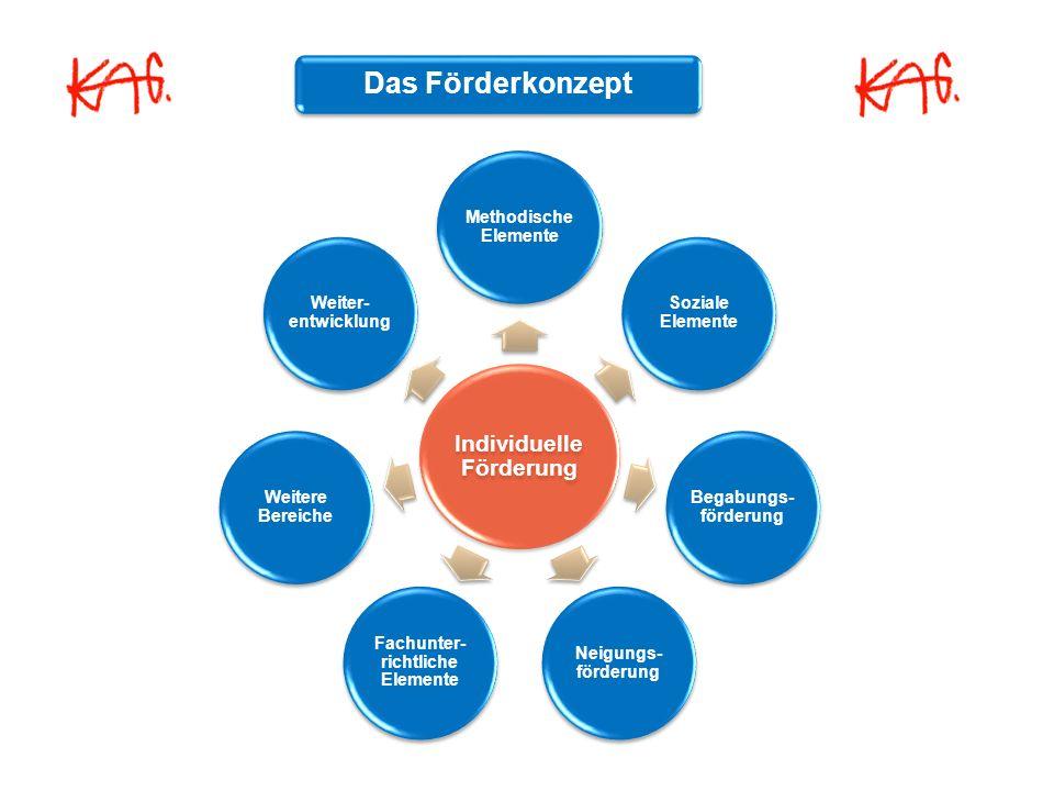 Individuelle Förderung Methodische Elemente Soziale Elemente Begabungs- förderung Neigungs- förderung Fachunter- richtliche Elemente Weitere Bereiche Weiter- entwicklung Das Förderkonzept