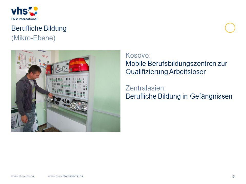 15 www.dvv-vhs.dewww.dvv-international.de Berufliche Bildung Kosovo: Mobile Berufsbildungszentren zur Qualifizierung Arbeitsloser Zentralasien: Berufliche Bildung in Gefängnissen (Mikro-Ebene)