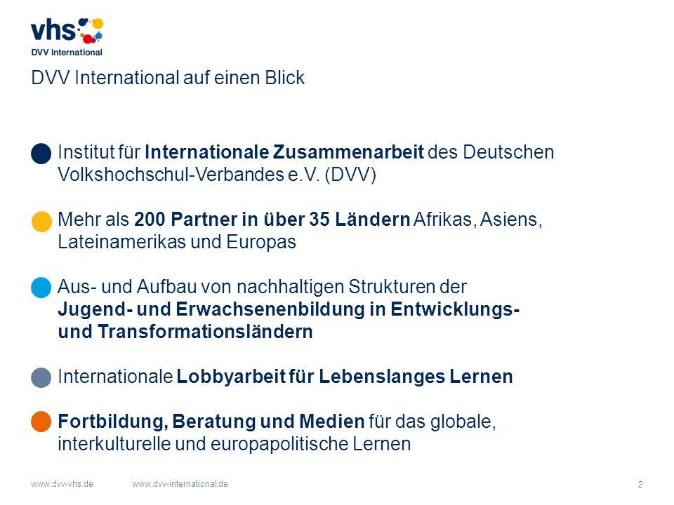 2 www.dvv-vhs.dewww.dvv-international.de DVV International auf einen Blick Institut für Internationale Zusammenarbeit des Deutschen Volkshochschul-Verbandes e.V.