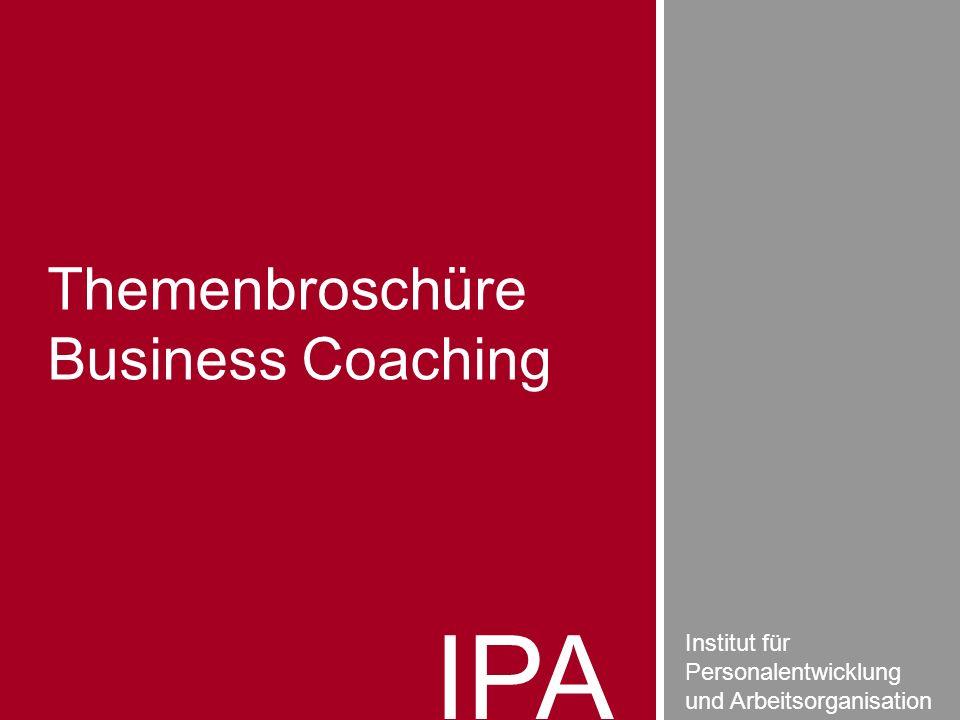 IPA Institut für Personalentwicklung und Arbeitsorganisation Themenbroschüre Business Coaching