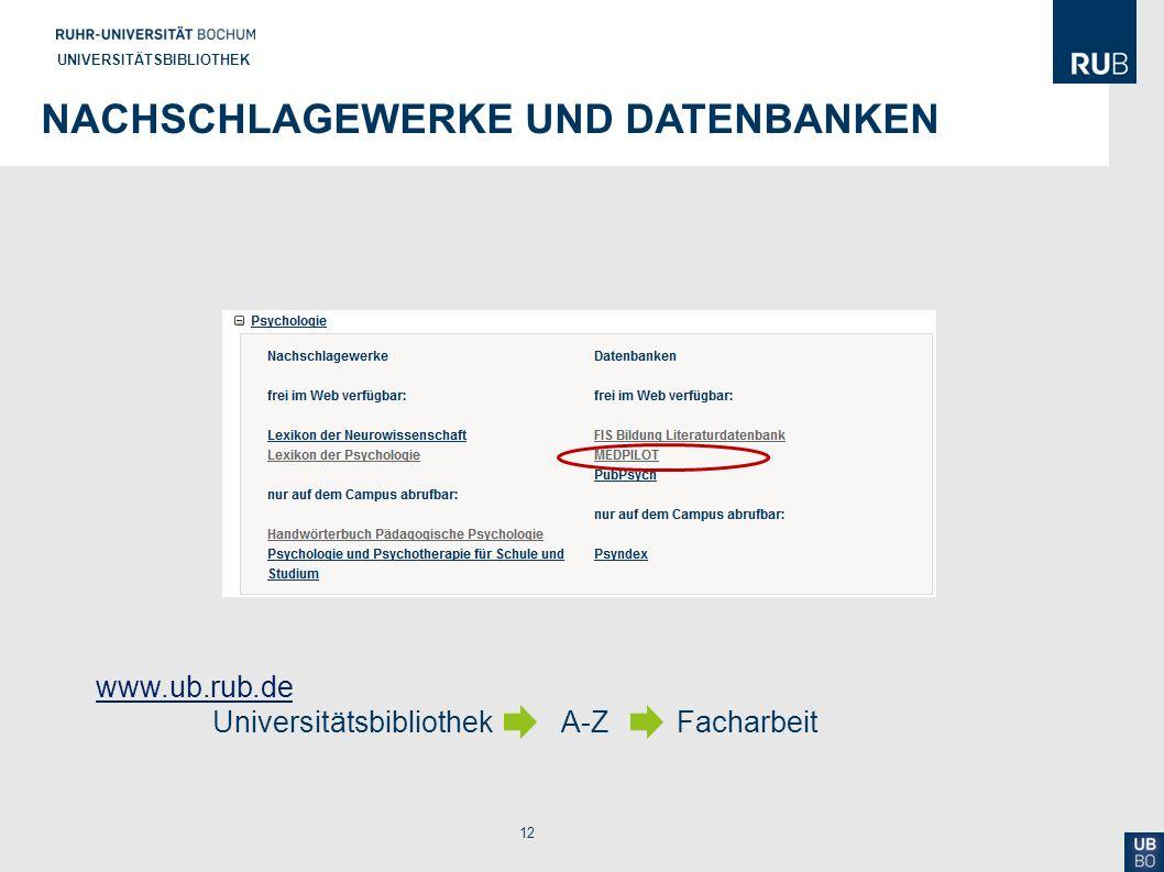 12 UNIVERSITÄTSBIBLIOTHEK NACHSCHLAGEWERKE UND DATENBANKEN www.ub.rub.de www.ub.rub.de Universitätsbibliothek A-ZFacharbeit