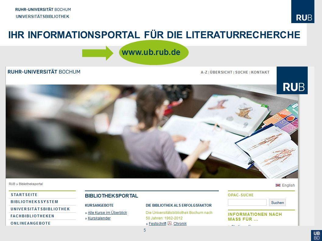 5 UNIVERSITÄTSBIBLIOTHEK IHR INFORMATIONSPORTAL FÜR DIE LITERATURRECHERCHE www.ub.rub.de