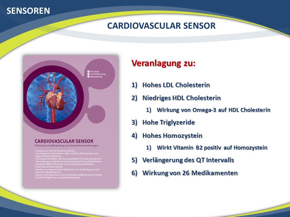 SENSOREN CARDIOVASCULAR SENSOR Veranlagung zu: 1)Hohes LDL Cholesterin 2)Niedriges HDL Cholesterin 1)Wirkung von Omega-3 auf HDL Cholesterin 3)Hohe Tr