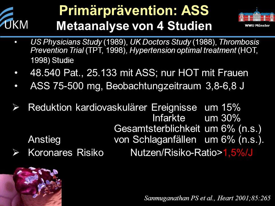 WWU Münster  Reduktion kardiovaskulärer Ereignisse um 15% Infarkte um 30% Gesamtsterblichkeit um 6% (n.s.) Anstieg von Schlaganfällen um 6% (n.s.).