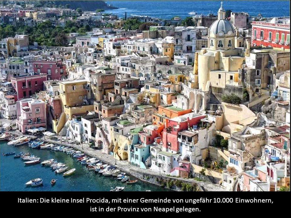 Italien: Die kleine Insel Procida, mit einer Gemeinde von ungefähr 10.000 Einwohnern, ist in der Provinz von Neapel gelegen.