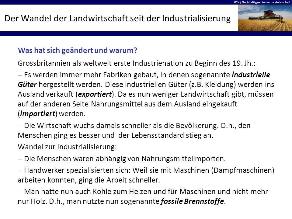 02a / Nachhaltigkeit in der Landwirtschaft Der Wandel der Landwirtschaft seit der Industrialisierung Grossbritannien als weltweit erste Industrienatio